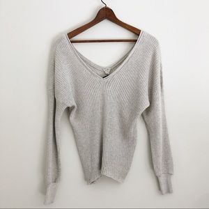 Zara Gray Italian Yarn V-neck Off Shoulder Sweater